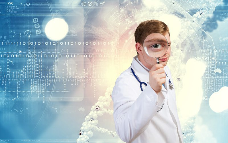 Doctor with magnifying glass surrounded by data